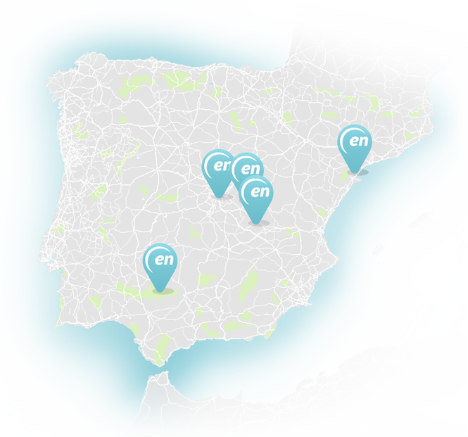Spain map with the locations of Enresa's spaces