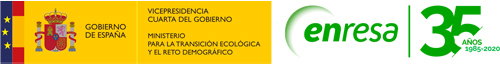 Enresa logo and Ministry of Ecological Transition and Demografical logo